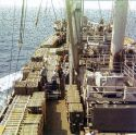 This is what it looks like on a Ammo ship off the Coast of Vietnam During a normal Day in 1972.  Lots of Fun when the weather kicks up.  The loads shift from side to side,  They tell me you won't Hear the Blast if something happens,,,