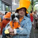 Bogart and I near the Anne Frank House on Queens Day
