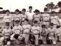 Winter Park Kiwanis Little League circa 1953. Bottom row, left to right, uk, uk, Danny Carr, Bllly Blackburn, uk, uk.  Back Row, left to right, uk, uk, uk, Coach Frye, Dick Pechin, uk, Davy Johnson.